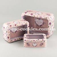 """Коробки для подарков """"Весенние цветы"""" розовые, набор из 3 шт., жестяные"""