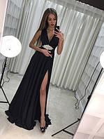 Платье женское длинное вечернее с украшением на поясе P5635