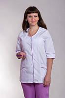 Женский медицинский брючный костюм белый+сирень