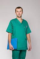 Мужской медицинский костюм зеленый без пуговиц