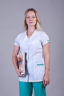 Женский медицинский костюм белый+зеленый