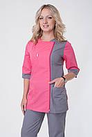 Женский медицинский костюм розовый+серый