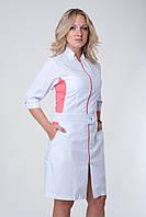 Женский медицинский халат белый с коралловой вставкой