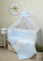 """Двухсторонний комплект постельного белья для новорожденных """"Морячок"""" 7 предметов:"""