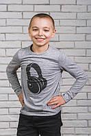 Кофта для мальчика с печатью Наушники меланж