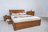 Деревянная кровать бук в спальню в современном стиле Марита Люкс  Олимп с выдвижными ящиками для белья