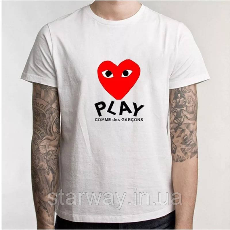 Футболка comme des garcons | play heart red logo