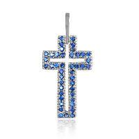 """Серебряный крестик с синими камнями """"071"""""""