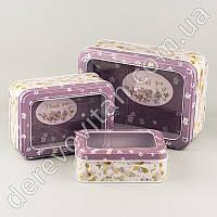"""Коробки для подарков """"Весенние цветы"""" сиреневые, набор из 3 шт., жестяные"""