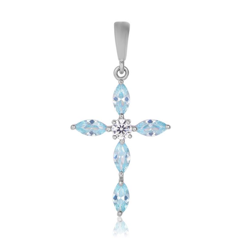 """Серебряный крестик с голубыми камнями """"435"""""""