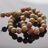 Бусины натуральный камень на нитке яшма гелиотроп 8 мм