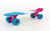 Скейтборд пластиковый Penny FISH COLOR POINT 22in полосатая дека , фото 1