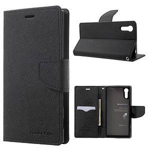 Чехол книжка для Sony Xperia XZ F8332 боковой с отсеком для визиток, MERCURY GOOSPERY, черный