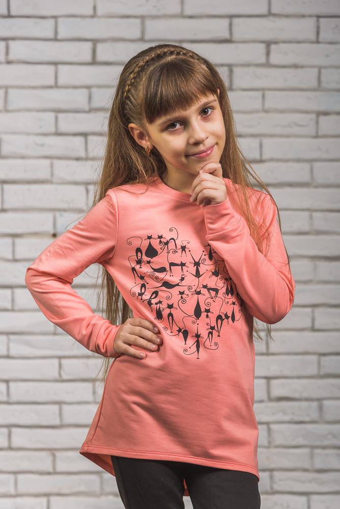 Туника для девочки с печатью персик