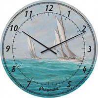 Часы настенные из стекла - яхты (немецкий механизм)