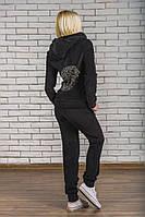 Велюровый костюм со стразами черный, фото 1