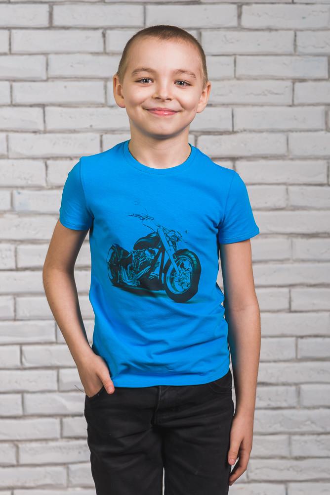 Футболка для мальчика с печатью голубая