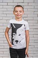 Футболка для мальчика с печатью белая, фото 1