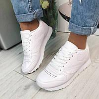 Женские кроссовки белые, эко кожа, на подошве 2 см / кроссовки женские белого цвета, весна, стильные