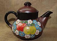 """Чайник керамический """"Яблоки в цветах"""""""