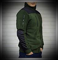 Мужская Флисовая куртка цвета хаки со вставками
