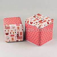 Коробки жестяные, коралловые, набор из 2 шт.