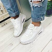 Женские белые кроссовки на подошве 2 см, эко кожа  + сетка / женские кроссовки стильные и удобные