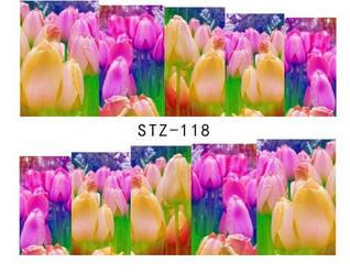 Наклейка водная для дизайна ногтей STZ 118