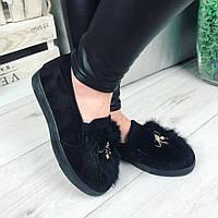 Женские слипоны черные, на плоской подошве 2 см, эко замш / слипоны женские демисезонные, модные и удобные