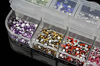 Стразы для дизайна ногтей в каccете, 2 мм, 12 цветов, 1500 шт.