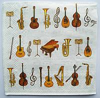 Салфетка для декупажа Музыкальные инструменты №2 25*25 см, 1 шт