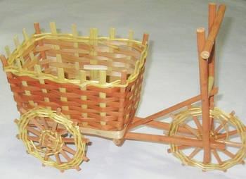 Корзина плетенная 30*15 см  Велосипед