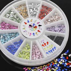 Стразы для дизайна ногтей в карусели, капля, 3 мм,12 цветов
