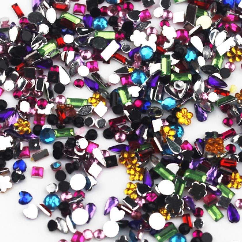 Стразы для дизайна ногтей 500 шт,1.5-3 мм,различных форм и цветов