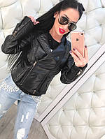 Стильная женская кожаная куртка-косуха на диагональной молнии, эко кожа. Цвет черный