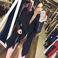 """Комбинированное женское пальто-кардиган """"Lucy"""" с поясом и кожаными рукавами"""