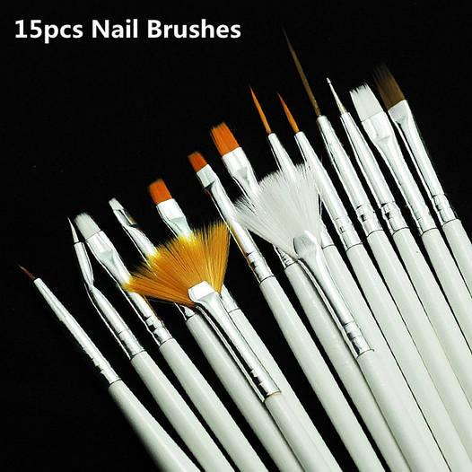Набор кистей для дизайна и рисования на ногтях,15 шт