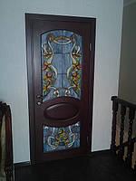 Двері міжкімнатні дерев'яні (ясен) *овал*