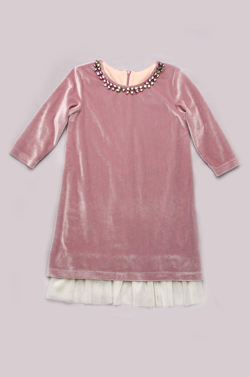 Платье из бархата для девочки (розовый кварц) LikeMe 6 - 10 лет