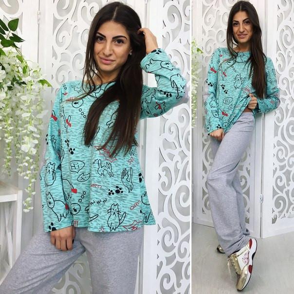 """Трикотажный женский комплект-пижама для сна """"Cats"""" с принтом и заплатками (3 цвета)"""