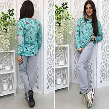 """Трикотажный женский комплект-пижама для сна """"Cats"""" с принтом и заплатками (3 цвета), фото 3"""