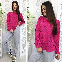 """Трикотажный женский комплект-пижама для сна """"Cats"""" с принтом и заплатками (3 цвета), фото 2"""