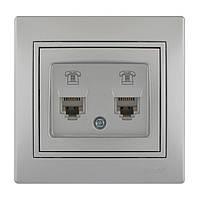 Розетка телефонная двойная евро  Lezard Mira 701-1010-138 серый металлик