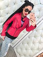 Стильная женская кожаная куртка-косуха на диагональной молнии, эко кожа, по бокам ремешки. Цвет красный