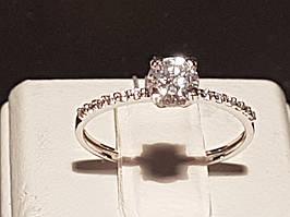 Золотое кольцо с фианитами. Артикул КВ684Би