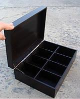 Шкатулка для пакетиков чая 8 ячеек, черная