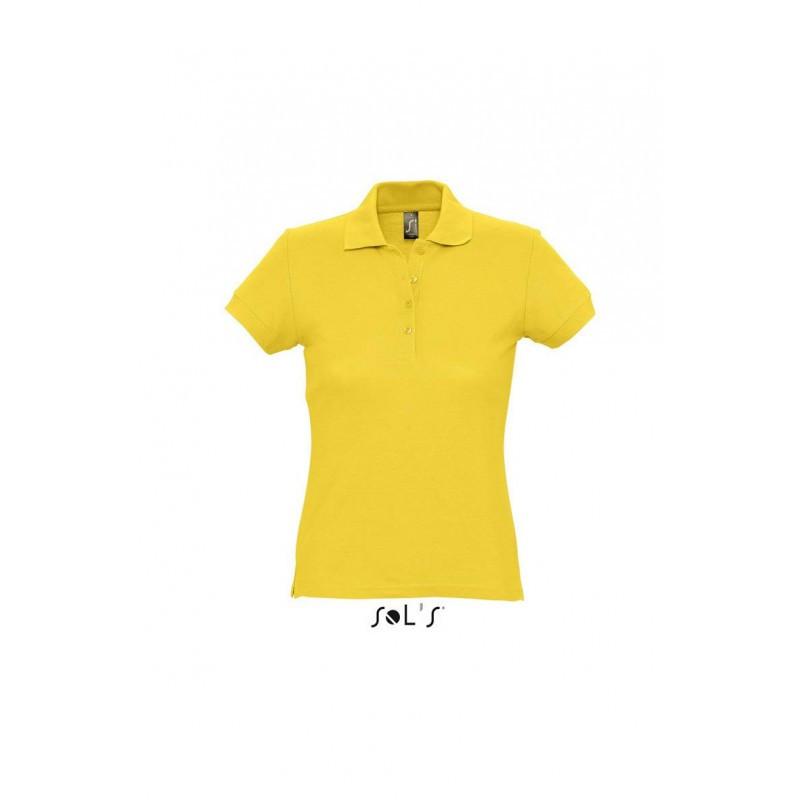 Женская рубашка поло желтая  SOL'S PASSION, размеры от S до ХXL, плотность 170 г/м2