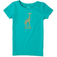 Детская футболка для девочек Life Is Good Girls Tile Giraffe Basic Tee  M