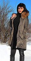 Зимняя парка цвета хаки с мехом енота