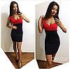 Женское комбинированное платье, в расцветках, фото 2